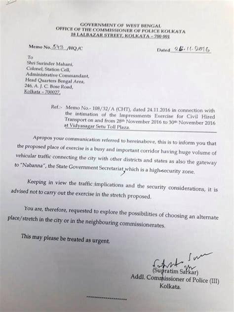Letter Kolkata Kolkata S Letter Backs Army S Claim That West Bengal Was Informed Of Joint Exercise