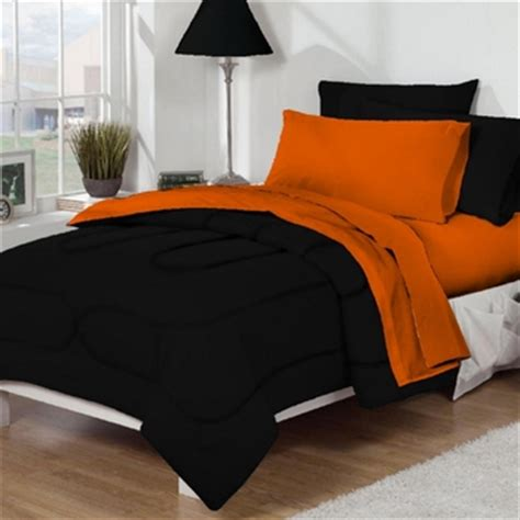 orange and black comforter dorm bed bath black orange 10pc set for xl twin college beds