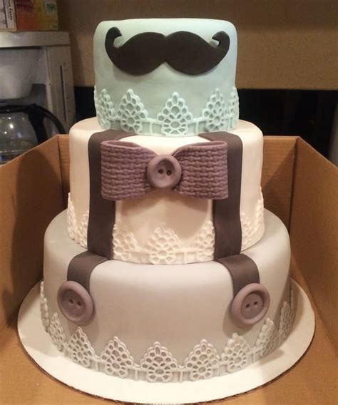 theme baby shower cake bow tie suspenders and