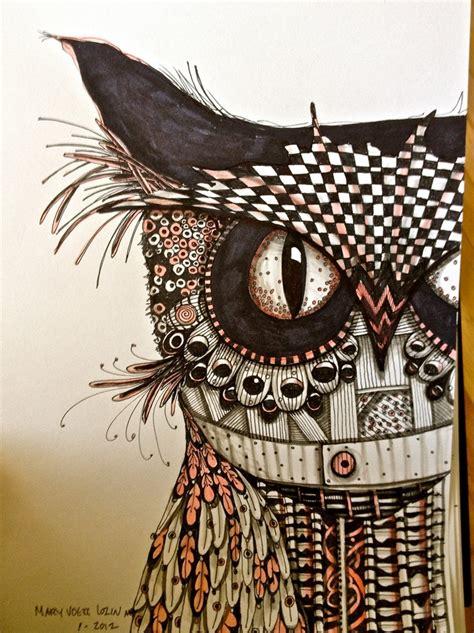 doodle owls owl drawing illustration print zentangle bird black