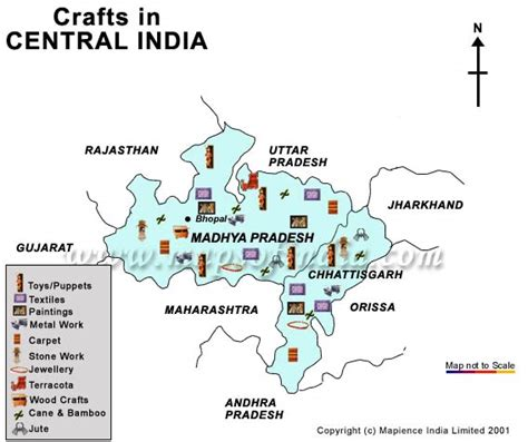 central india handicrafts map