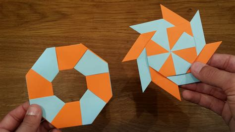 Origami Shuriken - how to make a paper transforming origami