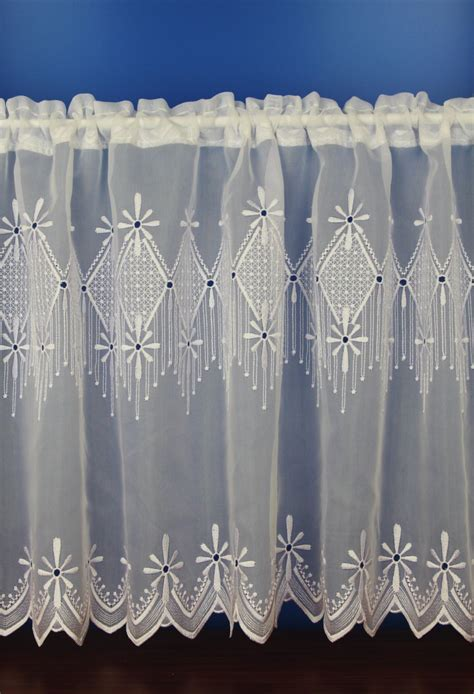 fishnet curtains charlotte white embroidered voile cafe net curtains