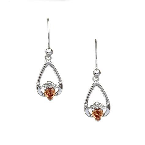 sterling silver birthstone claddagh drop earrings november