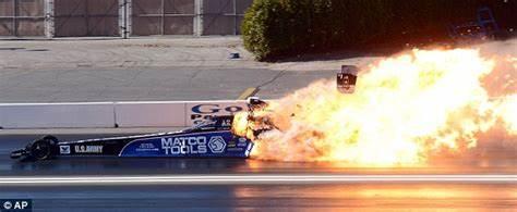 Dangerous sport: The 8,000 horsepower engine on Antron Brown's