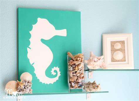 horse themed bathroom decor diy beach themed art on canvas using seahorse motif