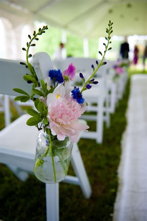 Hanging Mason Jar wedding aisle decor   Blue and Purple