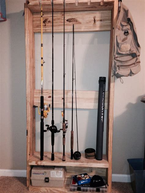 fishing rod rack fly done with wood burning pen