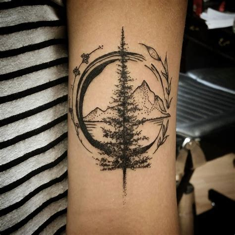 travelling tattoo designs wonderful mountain travel on forearm