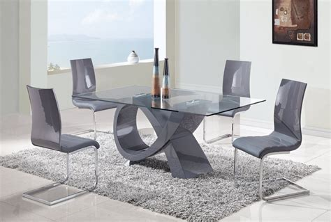 Contemporary Dining Table Set High End Rectangular In Wood Clear Glass Top Leather Modern Dining Table Sets Dallas Gf989ds