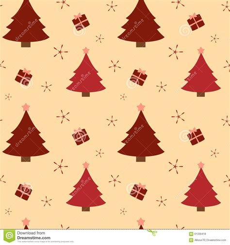 christmas tree pattern vector red christmas tree and cute presents seamless pattern
