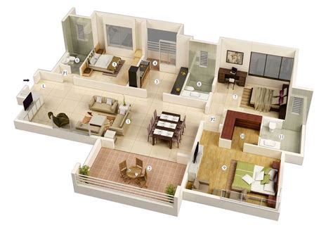 3 Bedroom Home Design Plans 25 More 3 Bedroom 3d Floor Plans Architecture Design