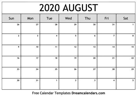 printable blank august  calendar   heart
