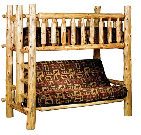 Rustic Futon Beds by Timberland Bunk Bed With Futon Rustic Furniture Mall By