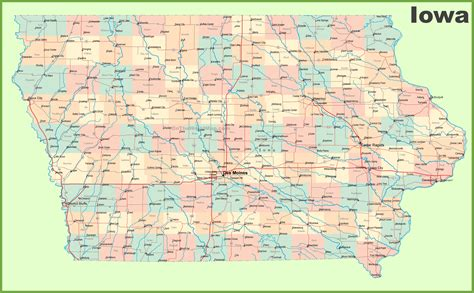 iowa state map map of iowa towns world map 07