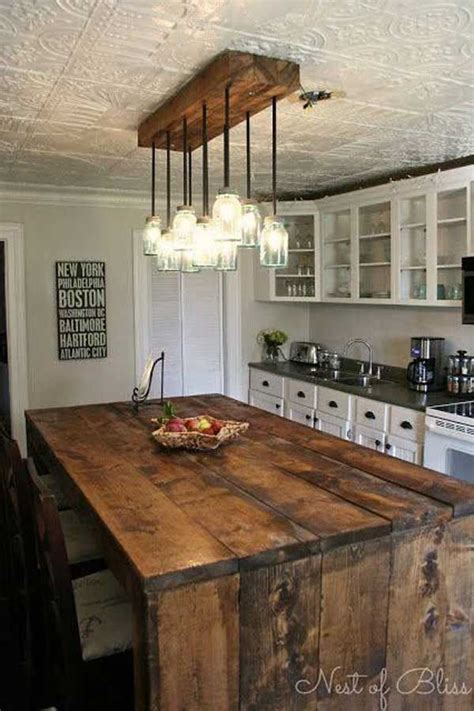32 Simple Rustic Homemade Kitchen Islands Amazing Diy Rustic Kitchen Island Lighting