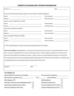 domestic wire transfer fillable outgoing domestic wire transfer form fax