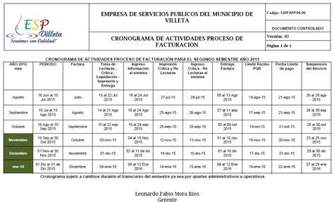 cronograma de actividades 2015 ii cambios en el cronograma de actividades de facturaci 243 n