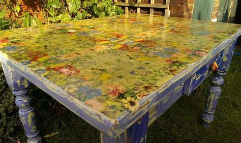 decoupage tabletop table top transformation napkin decoupage diy tutorial