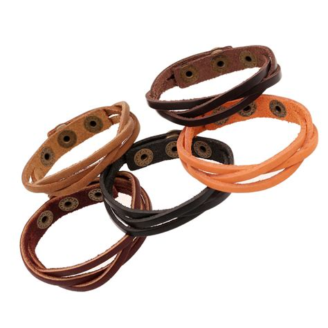 Bangle Korea Plated Gold Leather Kb27739 Zabu bbla wholesale japan korea new optional stylish braided leather bracelet in chain link