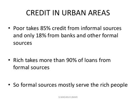 Sources Of Credit Formal And Informal Money And Credit