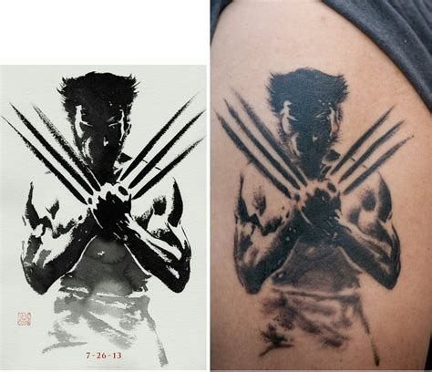 watercolor tattoos vs regular tattoo comparison of the original artwork vs 16 days of