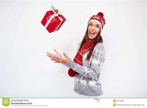 throwing christmas gift stock photo image 59709270