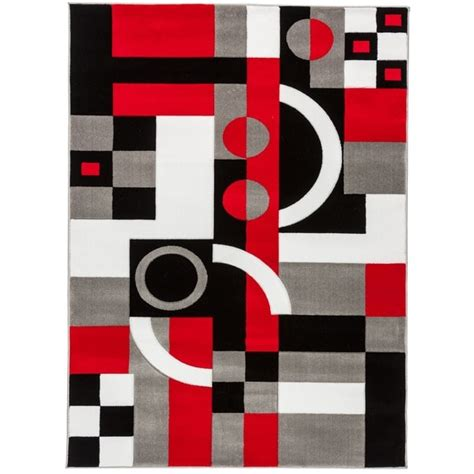 Gray Indoor Outdoor Rug Hand Carved Abstract Trendy Modern Black Red Grey And