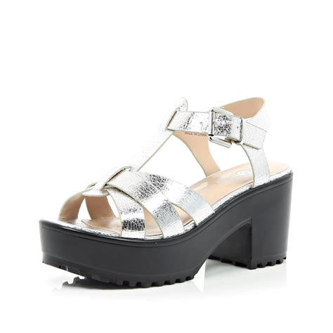 silver metallic sandals lyst river island silver metallic strappy chunky sandals
