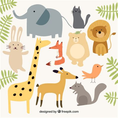 Animals Collection animal collection with green leaves vector free