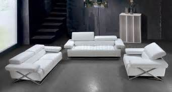 modern italian leather 3pc living room set linx white