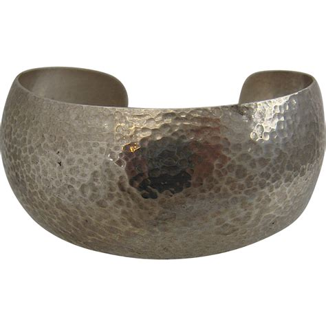 Silver Hammered L by Hammered Sterling Silver Cuff Bracelet Kabana Kbn From Mendocinovintage On Ruby