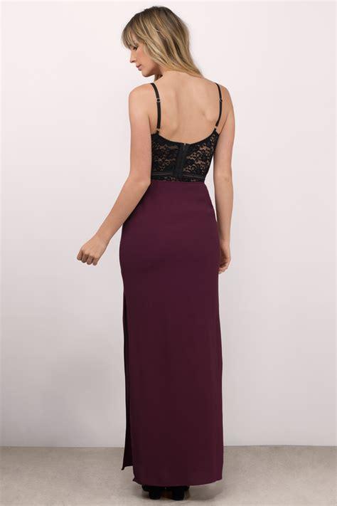 Sunres Maxi wine skirt side slit skirt maxi skirt wine