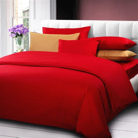 red queen comforter solid color comforter cover queen king size 4pcs red