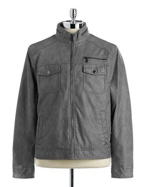 light grey moto jacket kenneth cole faux leather moto jacket in gray for men