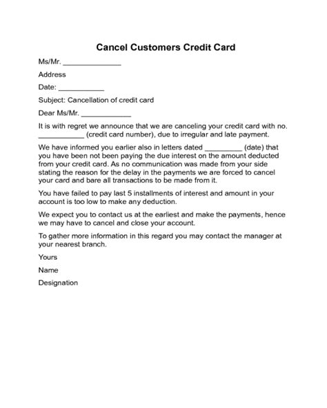 cancelling credit card letter template 2018 cancellation letter templates fillable printable