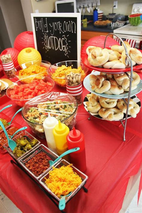 hot bar themes build your own hot dog bar drinks center presents table
