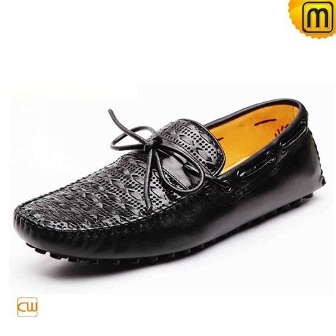 black leather driving moccasins for cw740002