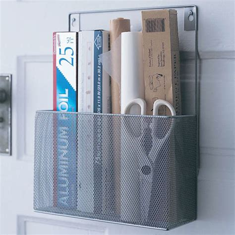 Cabinet Door Kitchen Wrap Organizer Silver Mesh Mounted Kitchen Wrap Organizer In Food Wrap Holders