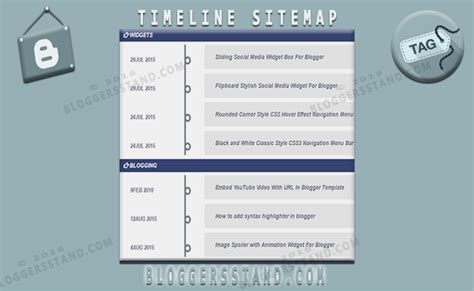 how to add timeline style sitemap widget in blogger