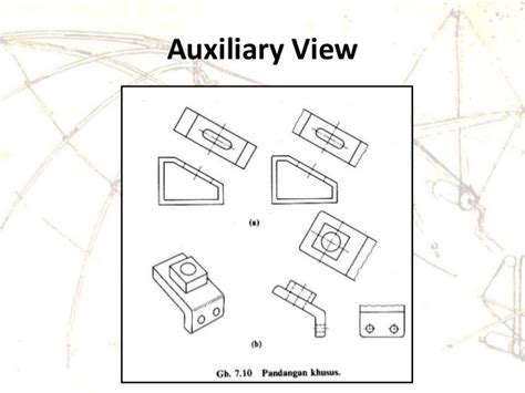 online layout view definition engineering drawing orthographic projection auxiliary view