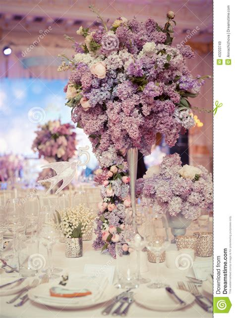 Dining Room Table Decorations festive table decoration in lilac colours stock photo