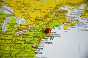 map usa east coast boston the city of boston marked on the map of the usa east coast