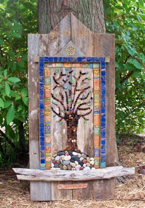 mosaik deko mosaik basteln stein mosaik im garten deko holz