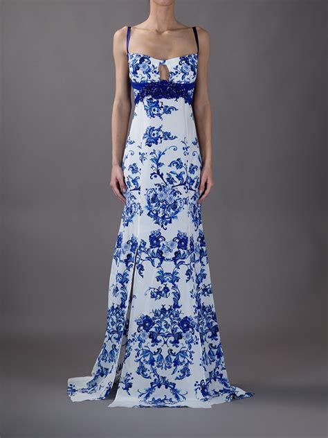 Cavali Dress roberto cavalli printed maxi dress in white lyst