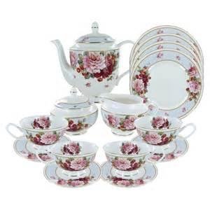 Peony and Strawberry Blue Bone China Tea Set