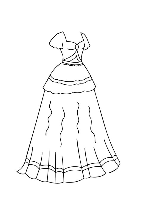 Coloring Page In Dress by Dress Coloring Pages Bestofcoloring