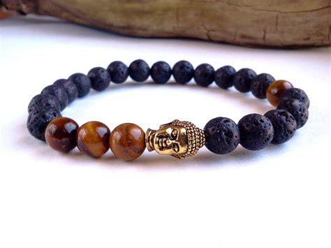 mens buddha bracelet lava bracelet tigers eye