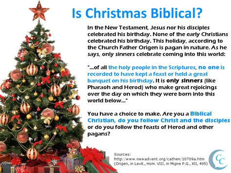 define christmas tree in bible is pagan calling christians