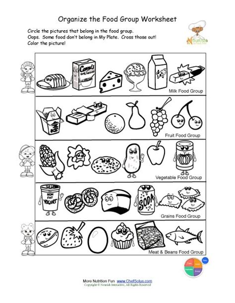 kindergarten activities nutrition free food groups printable nutrition education worksheet